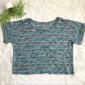 Free People Blue Woven Boxy Crop Top Shirt